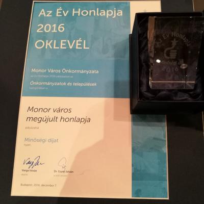 Minőségi díjat nyert Monor megújult honlapja