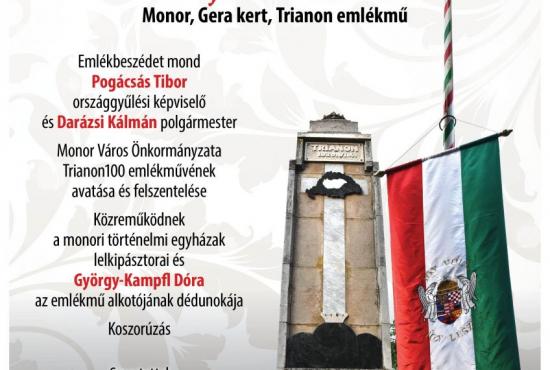 Megemlékezés és emlékmű avatás a trianoni döntés évfordulóján