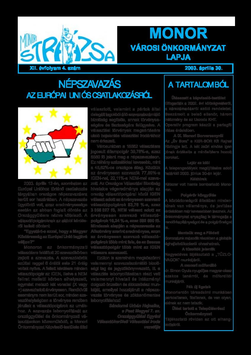 Strázsa újság, 2003 4. szám