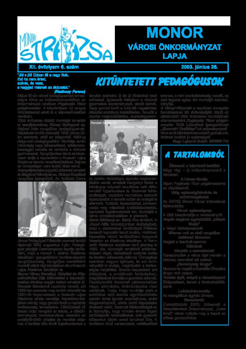 Strázsa újság, 2003 6. szám