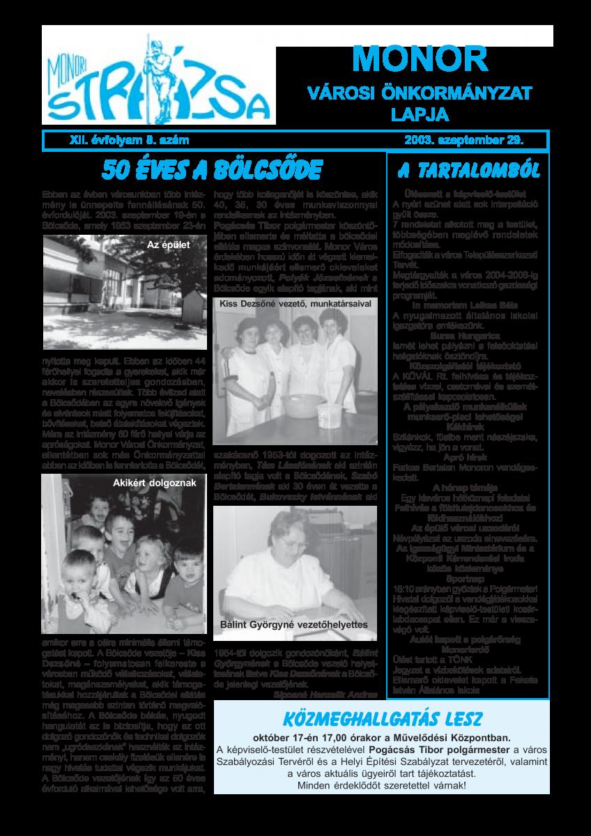 Strázsa újság, 2003 9. szám