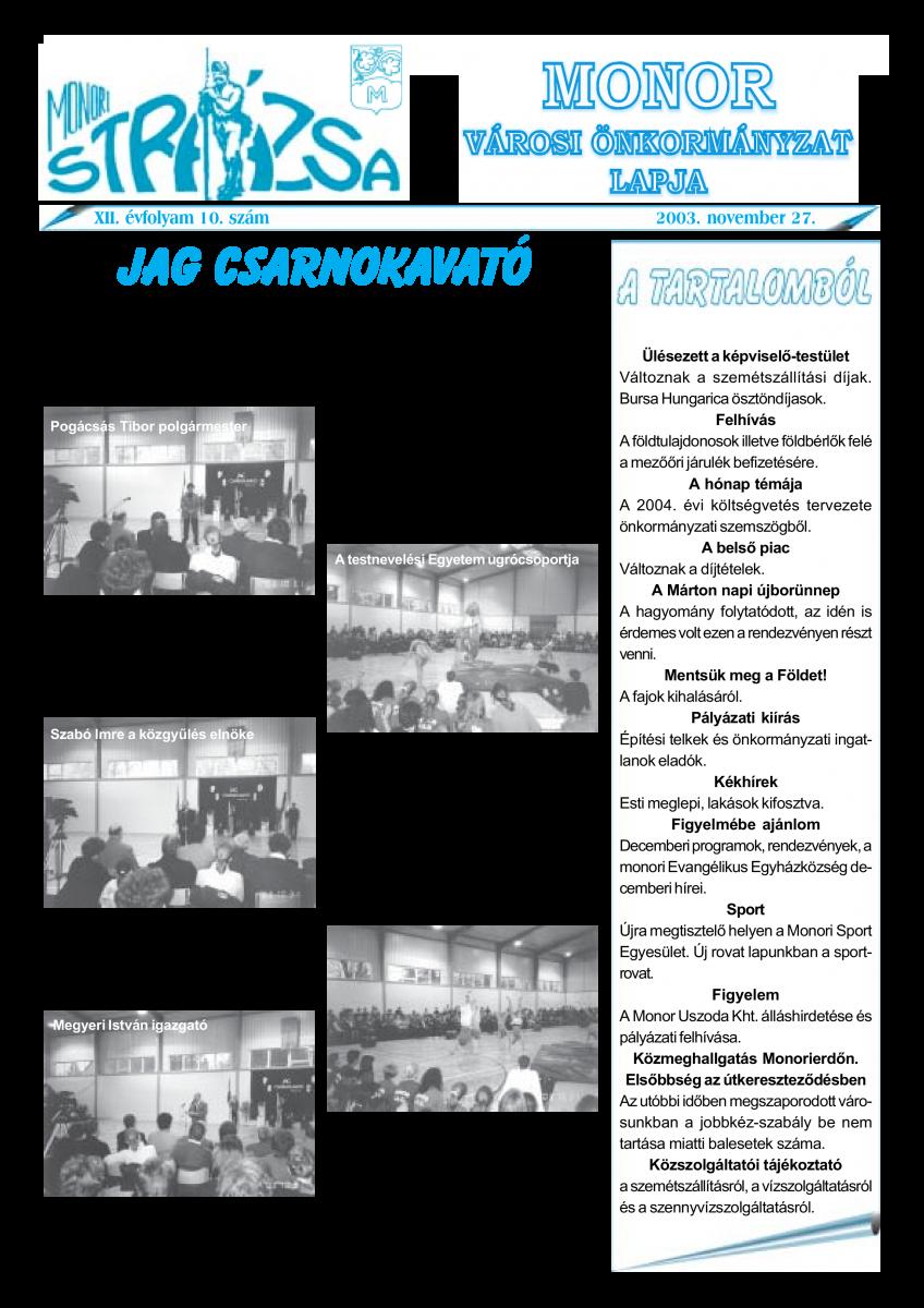 Strázsa újság, 2003 11. szám