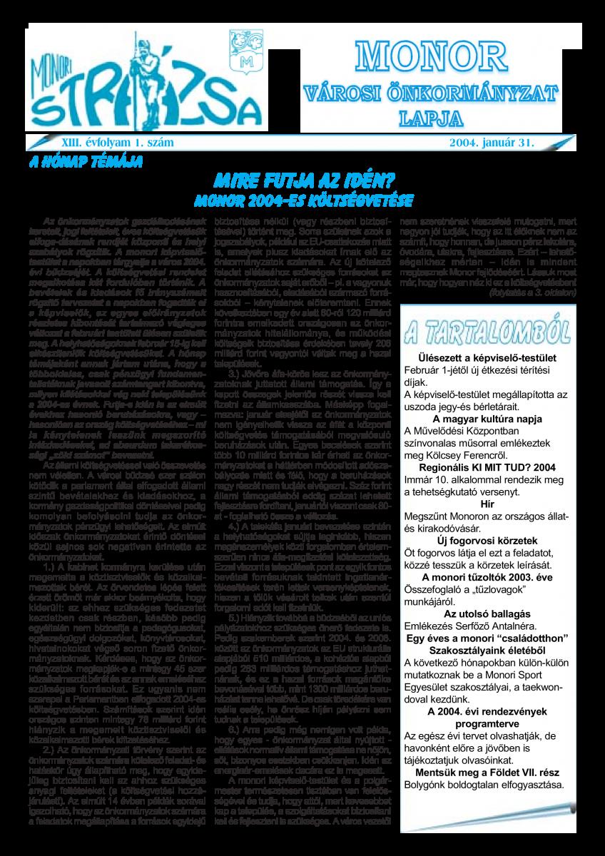 Strázsa újság, 2004 1. szám