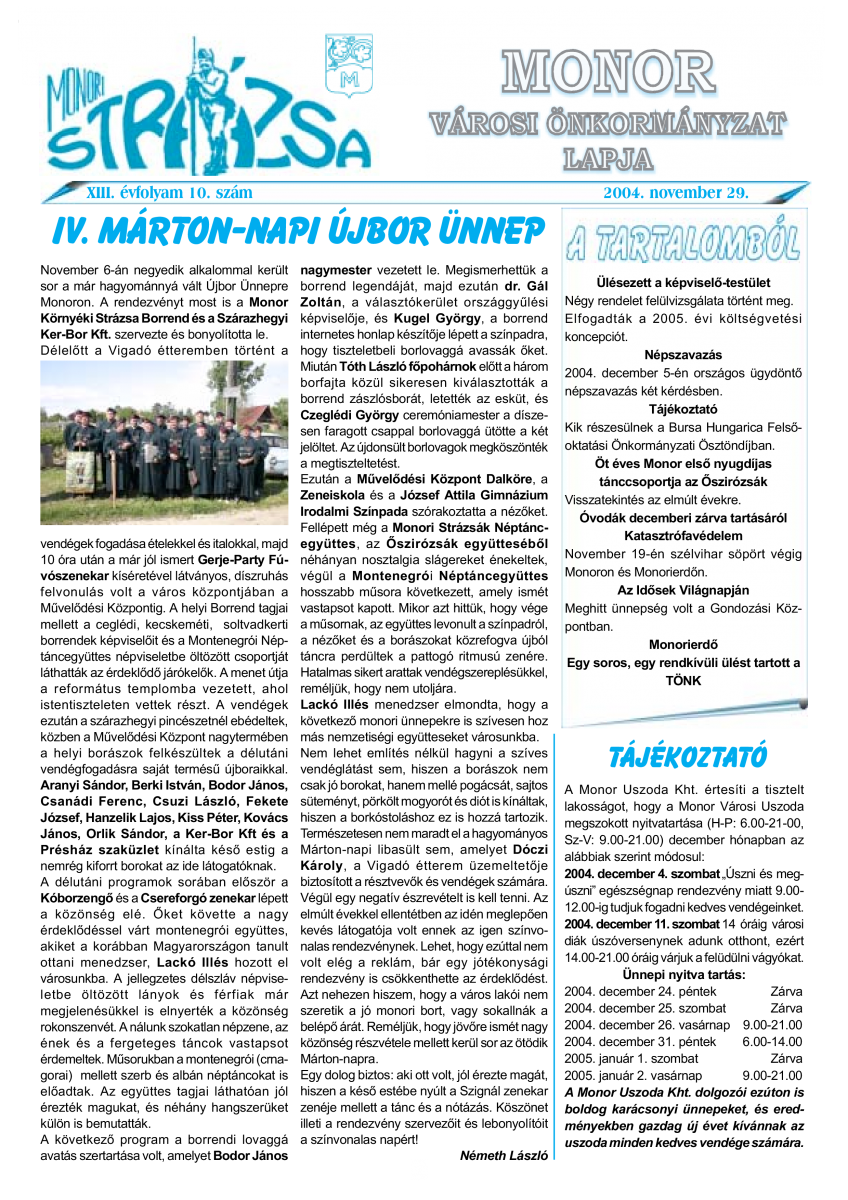 Strázsa újság, 2004 11. szám