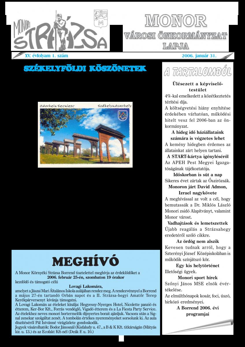 Strázsa újság, 2006 1. szám