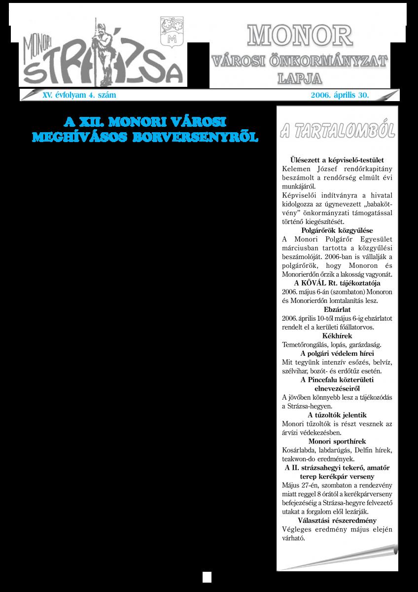 Strázsa újság, 2006 4. szám