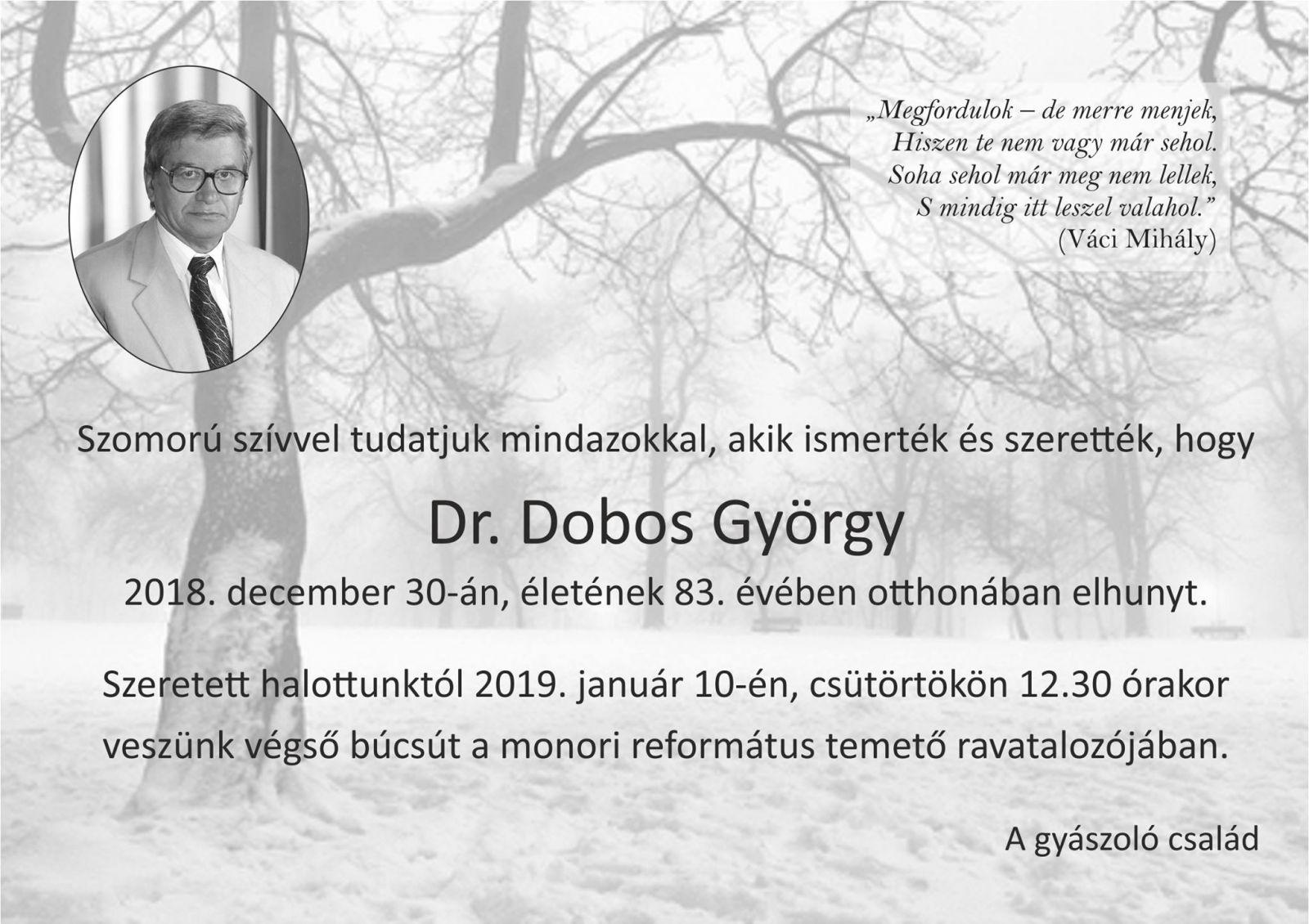 Elhunyt Dr. Dobos György