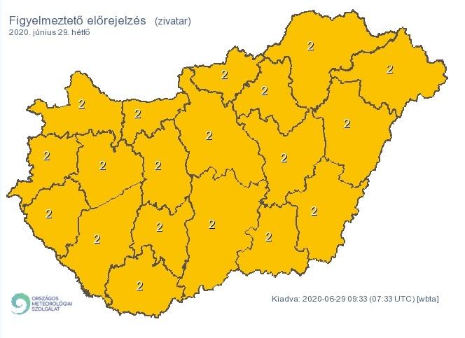 Narancssárga riasztás Pest Megye területére