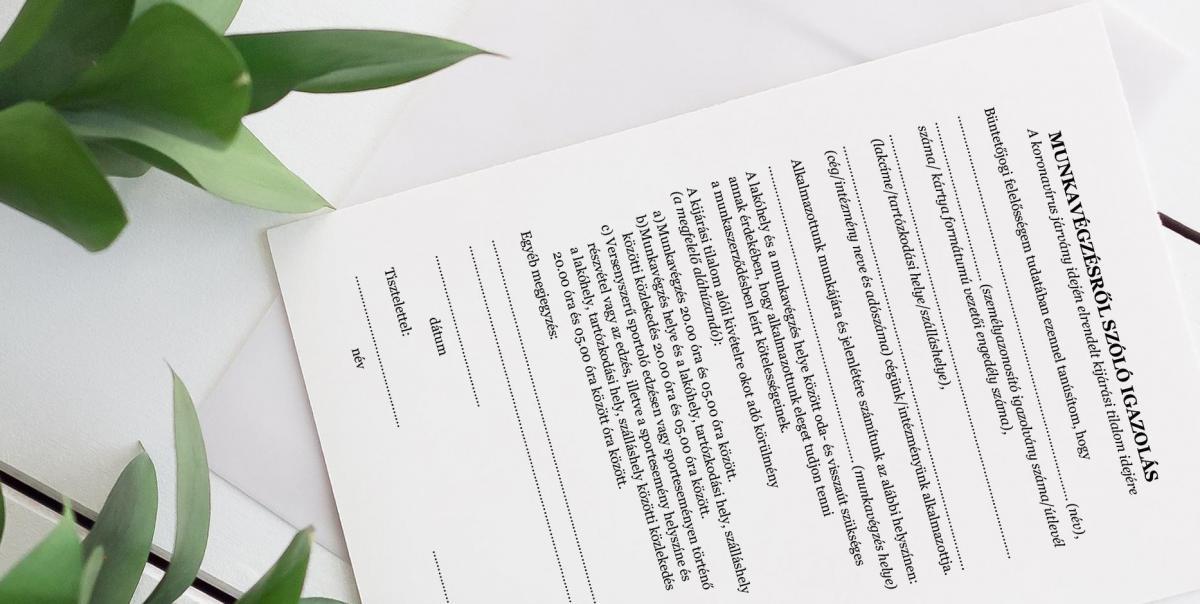 Kijárási tilalom alatti munkavégzésről szóló igazolás