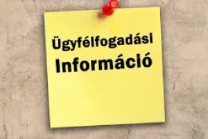 Tájékoztatás a Polgármesteri Hivatal ügyfélfogadási rendjéről