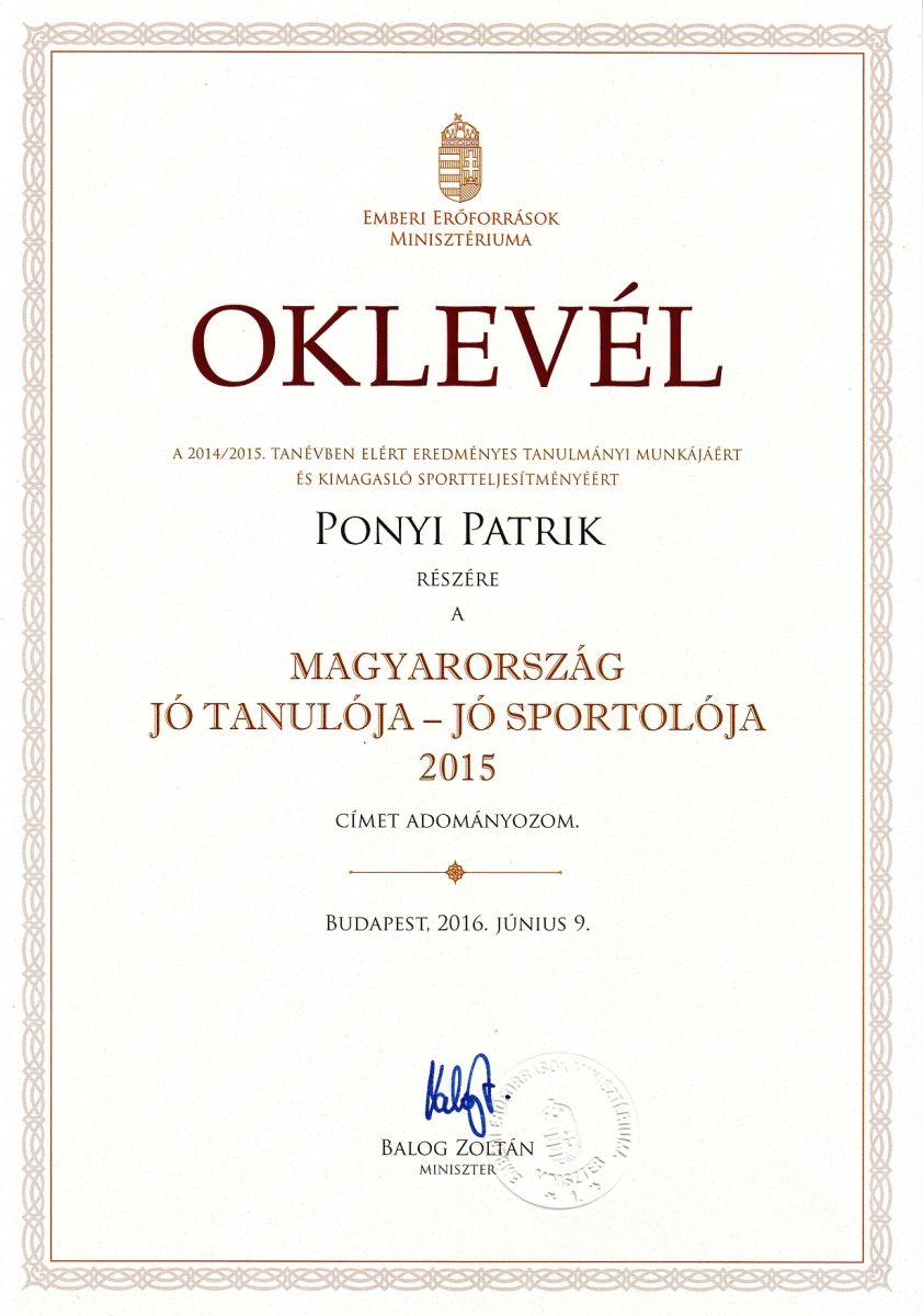 Monori diák is szerepel Magyarország Jó tanuló, jó sportolói között!