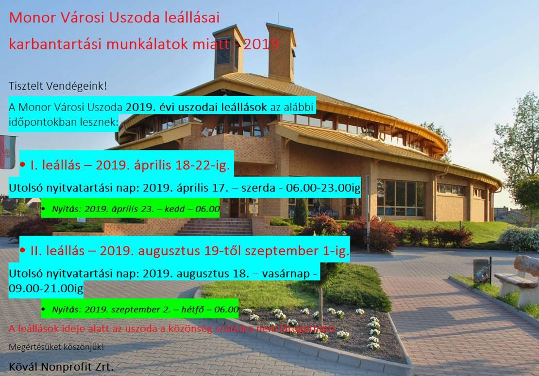 Monor Városi Uszoda leállásai karbantartási munkálatok miatt - 2019