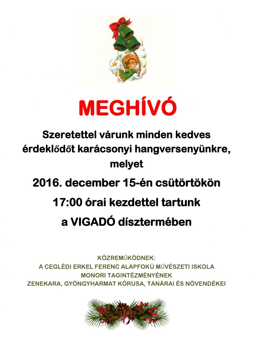 Karácsonyi hangversenyt ad a monori zeneiskola