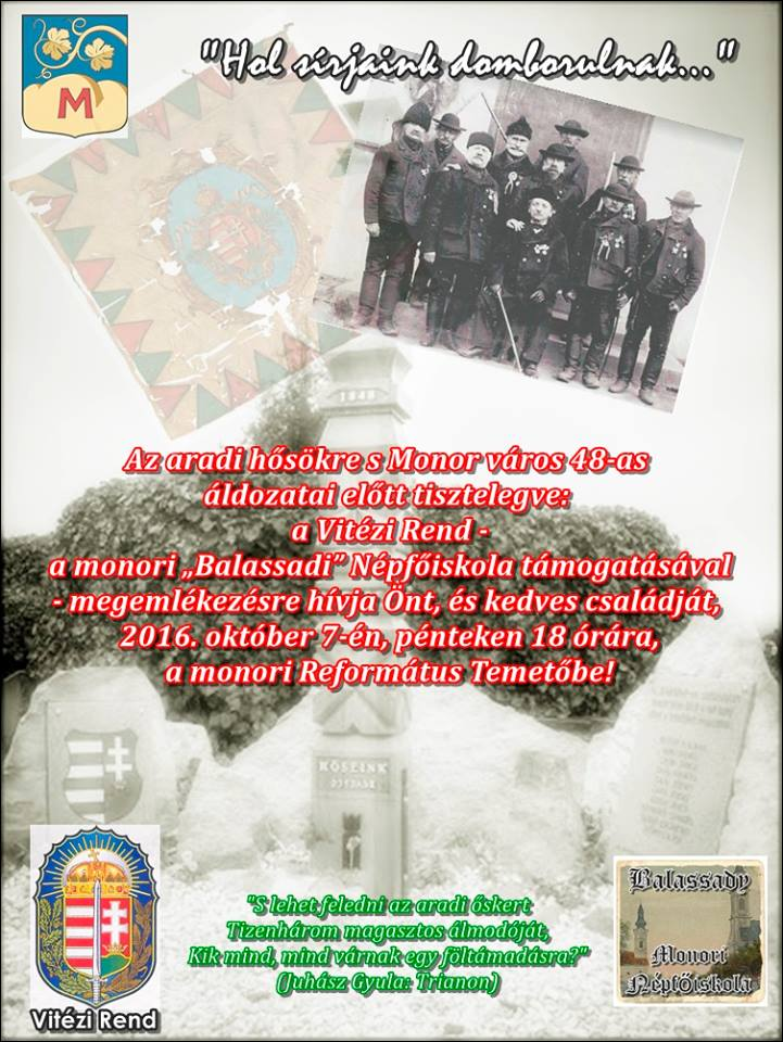 Emlékezés a monori 48-as katonákra és az aradi vértanúkra