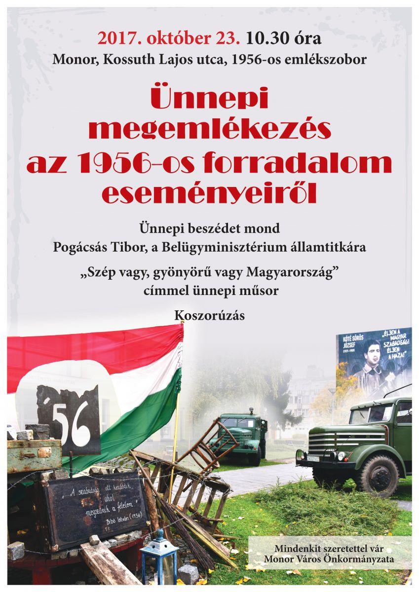 Ünnepi megemlékezés az 1956-os forradalom eseményeiről