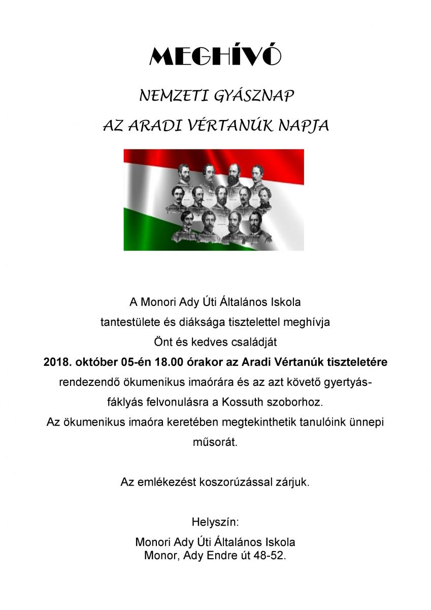 Megemlékezés a nemzeti gyásznap tiszteletére
