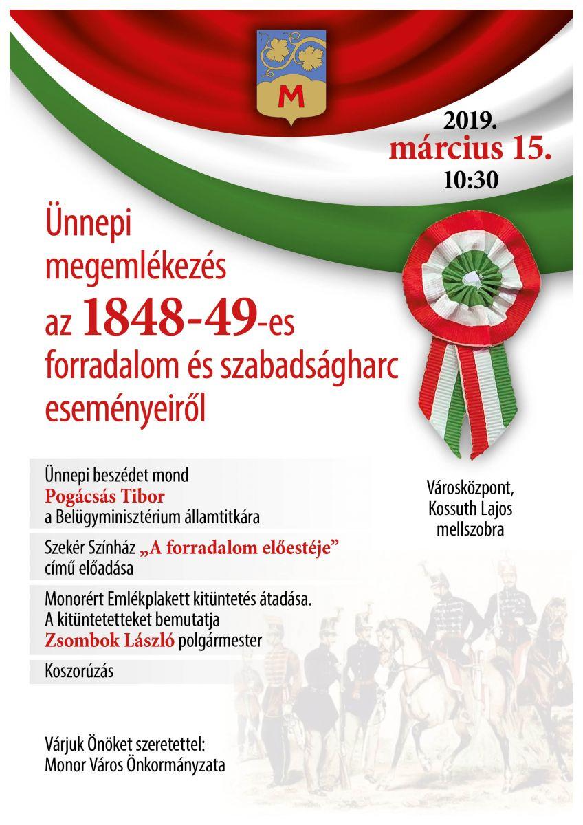 Ünnepi megemlékezés az 1848-49-es szabadságharc és forradalom eseményeiről