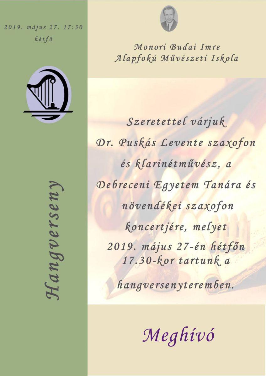 Dr. Puskás Levente szaxofonművész és növendékeinek koncertje