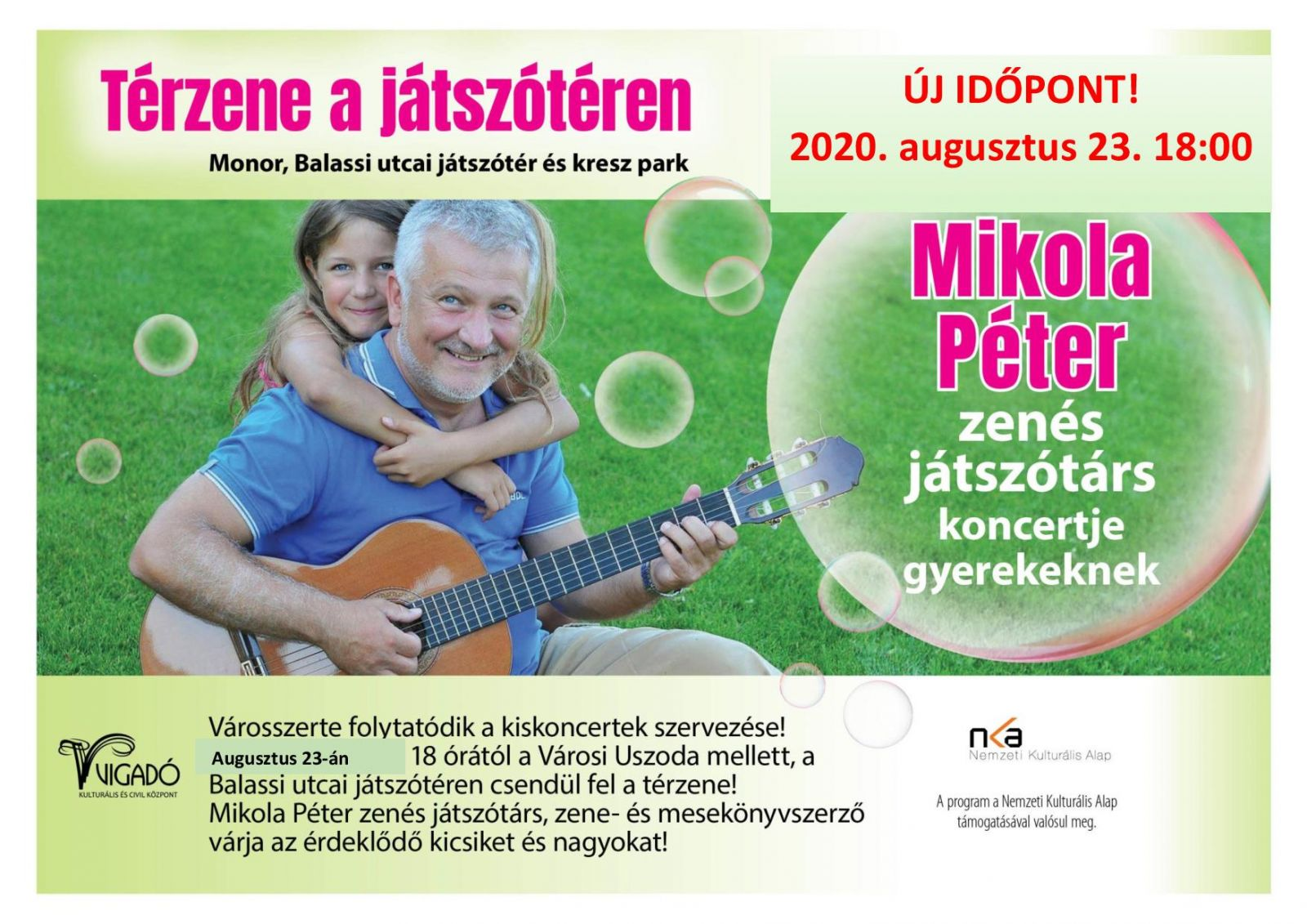ÚJ IDŐPONT: Térzene a játszótéren - Mikola Péter kiskoncertje gyerekeknek