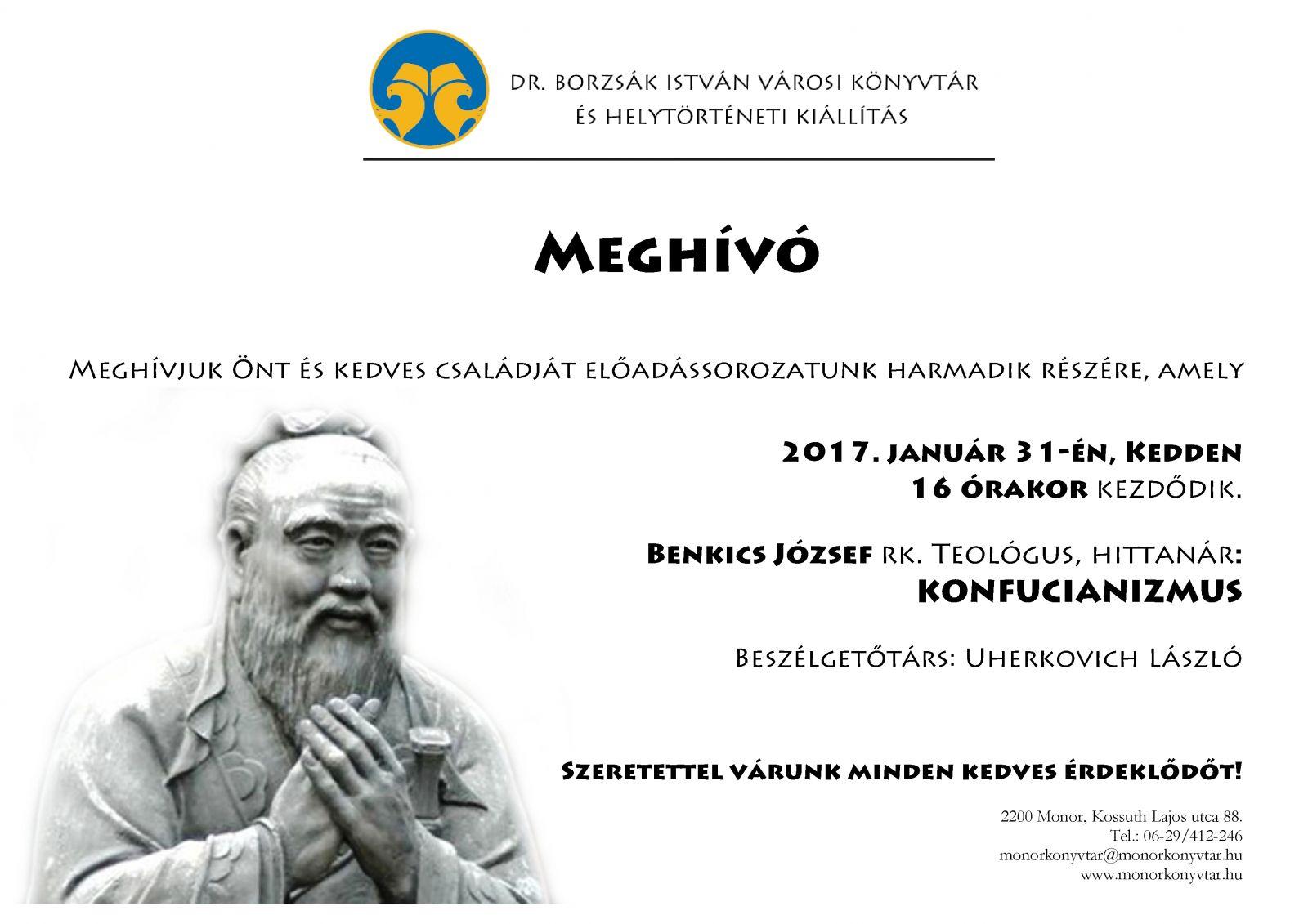 Benkics József: Konfucianizmus című előadása