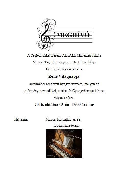 Zene Világnapja a Monori Zeneiskolában