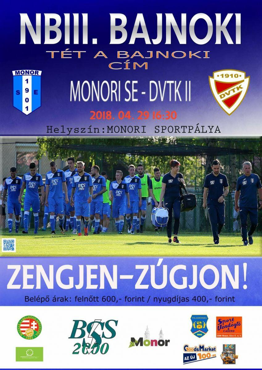 Monori SE - DVTK II NBIII férfi labdarúgó mérkőzés