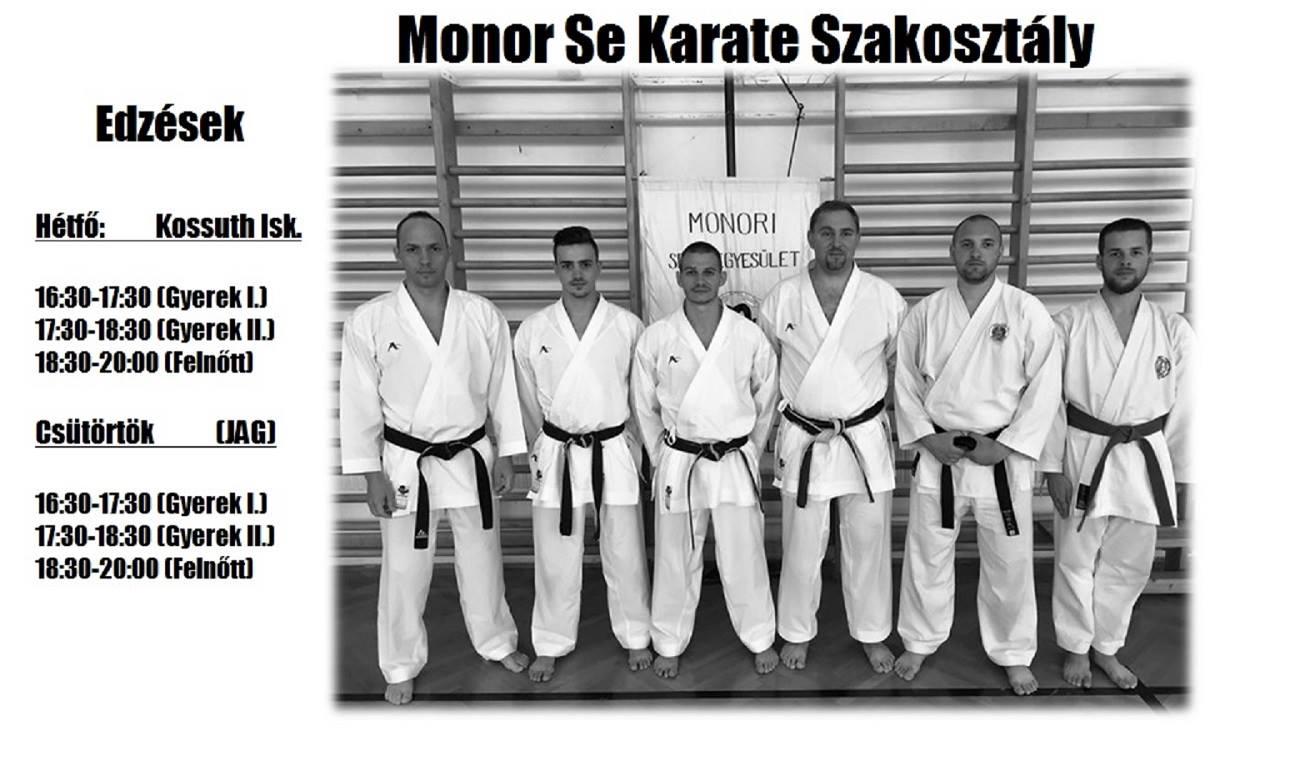 Az iskola kezdetével folytatja a munkát a Monor SE Karate szakosztálya is
